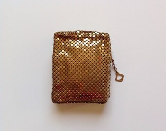 Vintage Cigarette Case Whiting And Davis Mesh Mates Gold Sparkle Metal Mesh