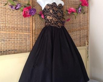 Vintage Gunne Sax Strapless Prom Party Cocktail Dress Metallic Detail Bodice Taffeta Full Skirt Size 3