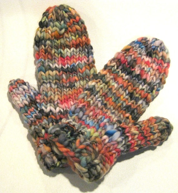 Knitting With Handspun Yarns Patterns : Wicked easy row knit bulky mitten pattern handspun