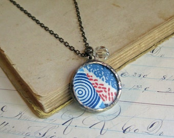 Retro Quilt Top Pendant 1940s One of a Kind Jewelry