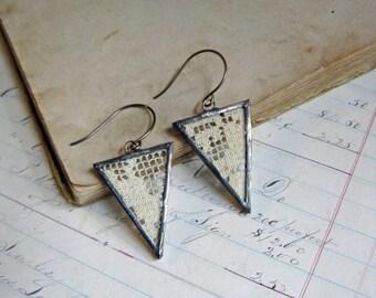 Lace Triangle Earrings Boho Jewelry