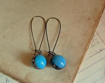 Turquoise Marble Earrings Ooak Jewelry
