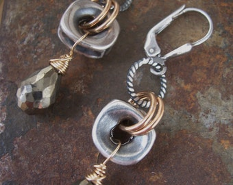 Nuts and Bolts, Industrial Earrings,  Mixed Metals and Pyrite Earrings, Drop Earrings, Pyrite Earrings, Fool's Gold.