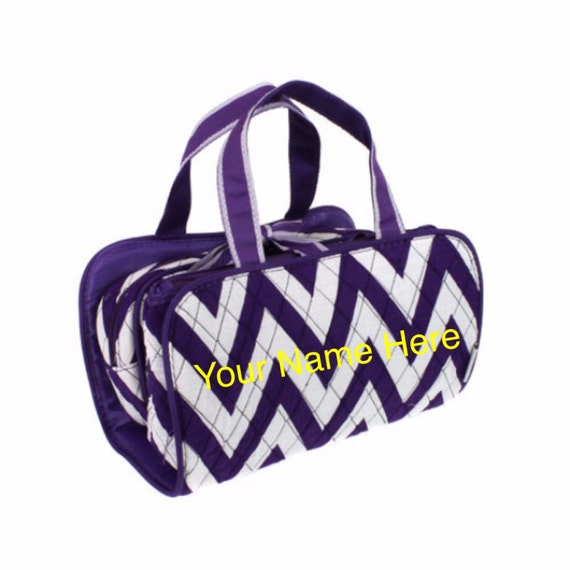 Cosmetic Bag Personalized Purple 3 Piece Chevron Print Quilted