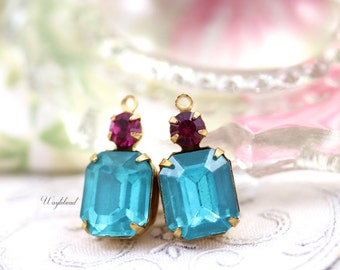 Vintage Glass Faceted Octagon Stone and Swarovski Crystal Aqua & Fuchsia 20x10mm Brass Prong Settings - 2