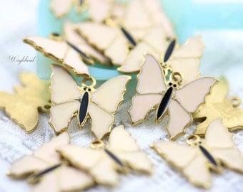 Light Pink Vintage Style Butterflies Charms Pendants - 4
