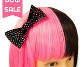 Black Hair Bow Colorful Polka Dots Hairbow for Girls Teens Women Hair Clip