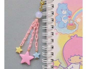 Planner Star Charm Pastel Pink Yellow Blue Fairy Kei Cell Phone Dust Plug Charm Bag Zipper Pull Sweet Lolita Retro 80s Harajuku