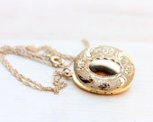 Gold Filled Oval Moon Flower Locket Necklace