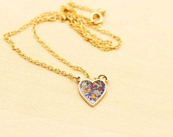 Sample Sale - Mixed Confetti Heart Necklace