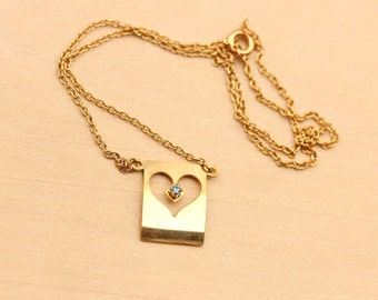 Cutout Heart Crystal Necklace