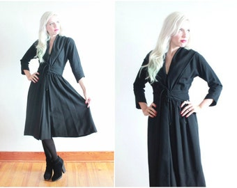 1950s Claire McCardell dress | 50s black wool dress | size xs