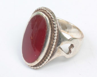Carnelian Heart Design Ring Sterling Silver Size 7 / O