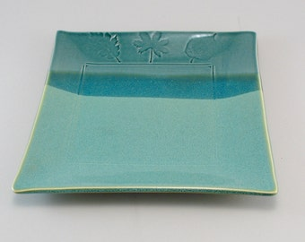 Square Serving Plate-Pottery Platter-Tableware-Ceramic Tray-Leaves-Peacock Blue Green Glaze