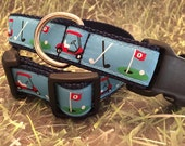 "Golf Cart Dog Collar Blue and Red- In the ""Ruff"" In M - L - XL"