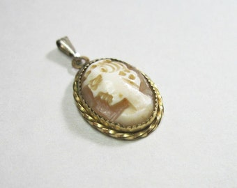 Tiny Vintage Hand Carved Shell Cameo Pendant - 12KT Gold Filled - 1970s