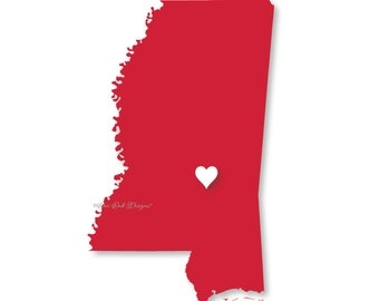 Mississippi Heart SVG File PDF / dxf / jpg / png / eps / ai / for Cameo, Cricut Explore & other electronic cutters
