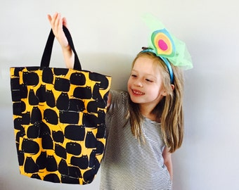 Trick-or-treat Halloween bag - fat black cats - soft cotton fabric bag for candy - quick shipping!