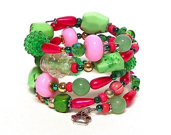 BERRIES on THE VINE coil Beaded Bracelet by Beading Divas Fundraiser