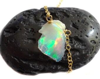 Ethiopian Opal Slice Necklace, Rough Ethiopian Opal Necklace, Ethiopian Welo Opal Necklace, Ethiopian Opal Pendant, Ethiopian Opal Jewelry