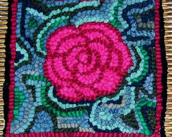 Beginner  ROSE  Rug Hooking Kit with Cut Wool Strips