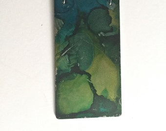 Mixed Media Blue and Green Steel Pendant Necklace