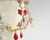 Cherry Blossoms Earrings, Red Ruby Earrings, Delicate Japanese Jewelry, Gold Large Hoop