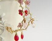 Sakura Earrings, Japanese Jewelry, Ruby Pink Gemstone Earrings, Wedding Bridal, Large Hoop