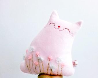 Pink Stuffed Cat Plush, Cat Decor, Stuffed Animal, Plush Cat, Cat Softie, Stuffed Cat Doll - Cat Lover Gift