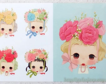 Offset Printing Iron On Transfer - Lovely Colorful Spring Rose Garden Floral Girls Ddung Dolls Collection (1 Sheet, 5 Dolls)