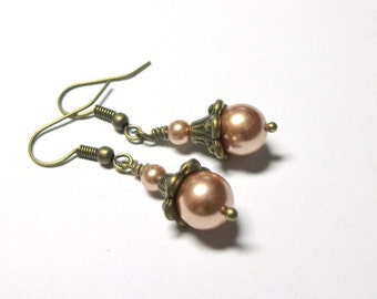 Earrings, Swarovski Rose Gold Crystal Pearl, Antique Brass, Swarovski Pearls, Spiritcatdesigns