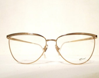 Huge Cat Eye Glasses on sale Big Metal Vintage NOS Eyeglass Frame 70s 80s Designer Eyewear Sunglasses 59mm lens 15mm bridge 140mm arm ITaly