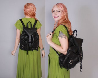 Vintage 90s Black LEATHER BACKPACK / 1990s Oversized Daypack PURSE