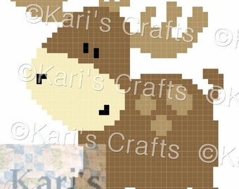 Baby Moose C2C Corner to Corner Afghan Baby Blanket or Pillow PDF Pattern Graph + Written Instructions-Instant Download