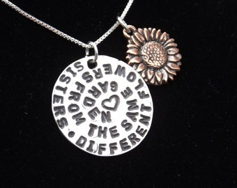 Different Flowers from the Same Garden necklace, Sister necklace, sister jewelry, sisters quote necklace, sister charm, gift for sister