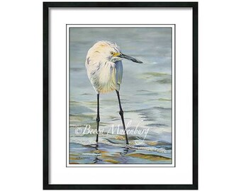 snowy egret PRINT art painting ocean water beach bird Sanibel Island