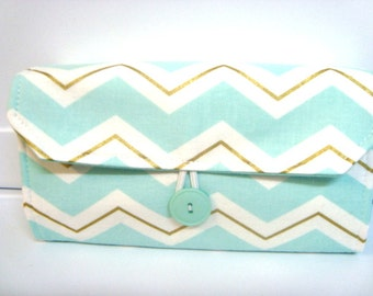 Cash Envelope Wallet  / Dave Ramsey System / Zipper Envelopes - Chevron Mint Glitz