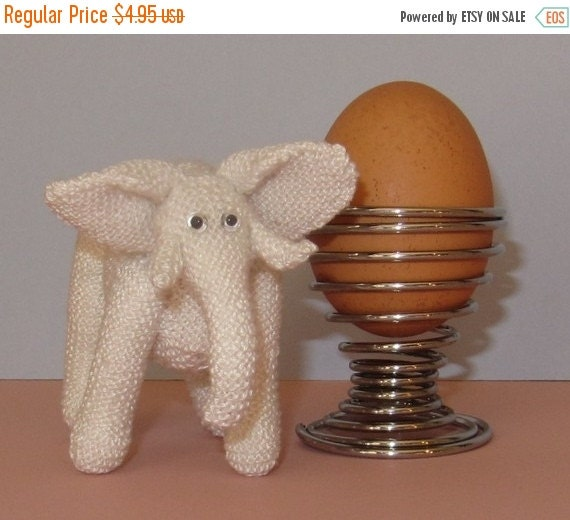 HALF PRICE SALE Instant Digital File pdf download knitting pattern - World's Tiniest White Elephant pdf  toy animal knitting pattern