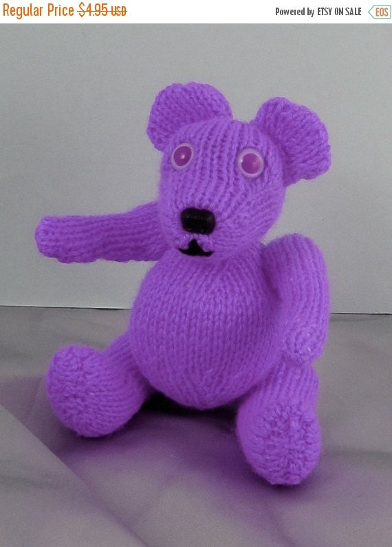 SALE 30% OFF Instant Digital File pdf download knitting pattern - Little lilac Teddy Bear Toy Animal pdf download knitting pattern