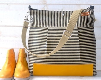 Waxed Canvas bag Diaper bag / Messenger bag Striped Stockholm Black geometric nautical striped  Mustard Leather / Webbing strap