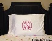 Monogrammed Pillowcase Personalized Pillowcase Monogram Pillow