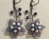 Handmade Wire Wrapped Flower Earrings, Czech Glass, MTO