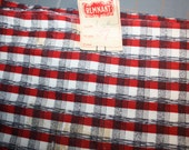 Vintage Red Check Fabric Cotton Originial Tag 36 Inch Wide