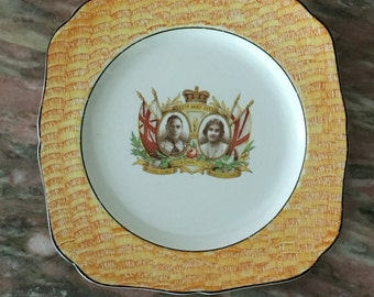 Vintage Coronation Plate 30s Elizabeth and George H&K Tunstall Orange Yellow, Square