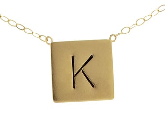 Initial Gold Square Charm Necklace Solid 14K Gold Fine Letter Jewelry Hand Stamped Monogram Engraved Handcrafted Designer Women's Jewelry