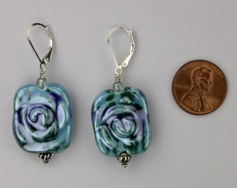 Shades of Blue Rose Patterned Earrings