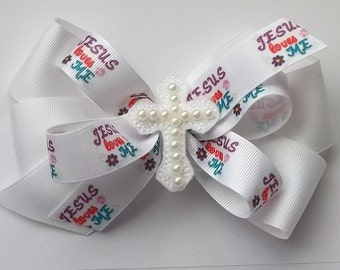 Easter or Sunday boutique hair bow for girls with or without headband