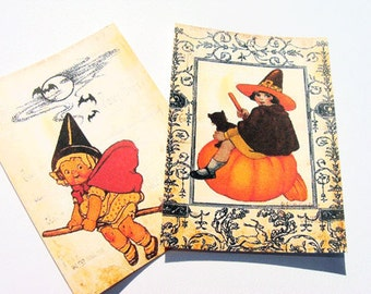 Cute Witch Tags - Set of 8 - Vintage Halloween - Vintage Witch - Halloween Tags - Thank Yous - Holiday Tags - Witch Girls - Variety Tags