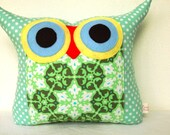 End of month sale /gift idea/mint /Aqua /Amy Butler fabric owl pillow( large size )