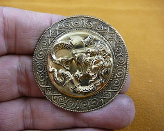 Lion wild Big cat fighting vs a snake serpent on scrolled o's + x's trimmed round repro Victorian BRASS pin pendant brooch B-LION-705